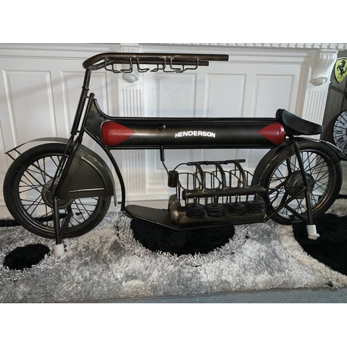 153 - HENDERSON MOTORCYCLE WINE RACK AND GLASS RACK