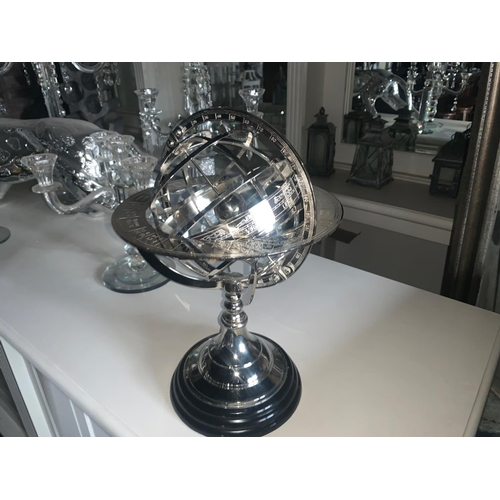 207 - BOXED NEW HIGH QUALITY EICHOLTZ STYLE OPENWORK NICKEL GLOBE ON BLACK STAND