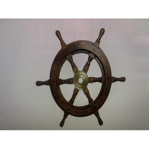 216 - 36 INCH WIDE TEAK AND BRASS SHIPS WHEEL
