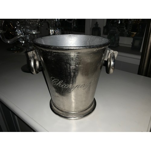 201 - BOXED NEW ANTIQUED RUSTIC NICKEL HEAVY CHAMPAGNE BUCKET WITH ROUND HANDLES