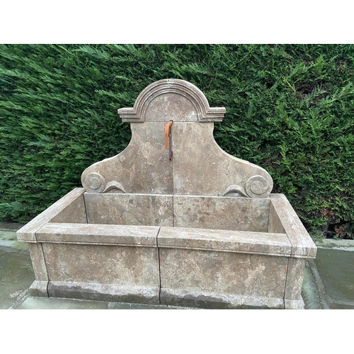 2 - HUGE RECTANGULAR CAST STONE PROVINCIAL STYLE WALL FOUNTAIN INC PIPES