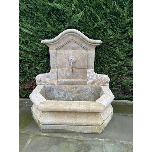 36 - CAST STONE PROVINCIAL STYLE HEXAGONAL WALL FOUNTAIN AND SURROUND INC METAL WATER TAP