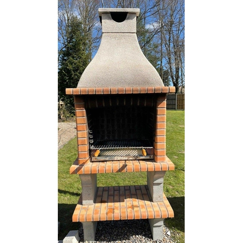 43 - CONTEMPORARY NEW/ PALLET AND BANDED RED outdoor Brick BBQ and chimney with PROFESSIONAL GALV FIRE TR...