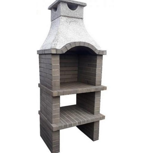 44 - CONTEMPORARY NEW/ PALLET AND BANDED GREY outdoor Brick BBQ and chimney with PROFESSIONAL GALV FIRE ...