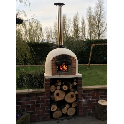45 - New CRATED 90cm Traditional Handmade wood fired brick pizza oven, Indoor/Outdoor, C/W stainless chim...