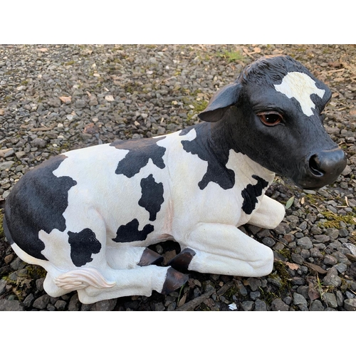 130 - BOXED NEW RESIN COW FIGURE