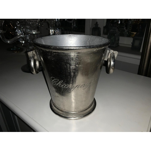 152 - BOXED NEW ANTIQUED RUSTIC NICKEL HEAVY CHAMPAGNE BUCKET WITH ROUND HEAD HANDLES
