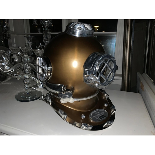 160 - LARGE NICKEL AND GOLD DIVERS HELMET
