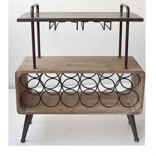 196 - NEW BOXED INDUSTRIAL STYLE WINE RACK AND GLASS HOLDER SIDE TABLE (APPROX 65CM)