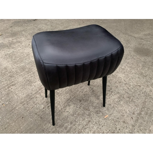 208 - NEW INDUSTRIAL STYLE RIBBED LEATHER STOOL/FOOT STOOL POMMEL HORSE ON METAL LEGS  IN BLACK