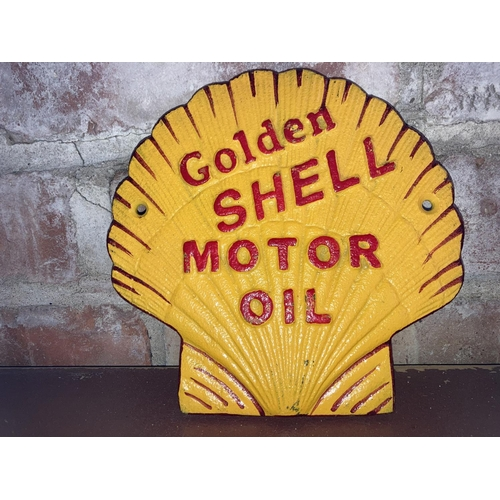 211 - CAST IRON GOLDEN SHELL MOTORCYCLE SIGN