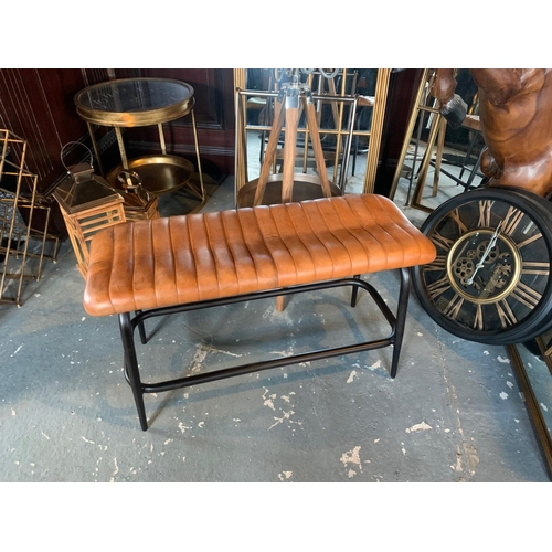 227 - LARGE VINTAGE INDUSTRIAL STYLE RIBBED LEATHER BENCH IN TAN