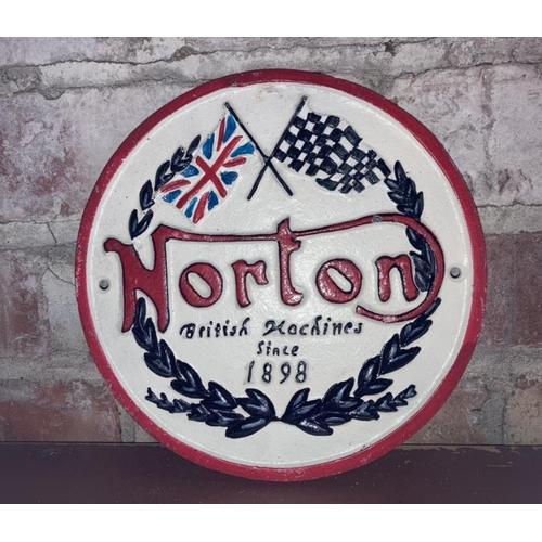 235 - CAST IRON NORTON SIGN