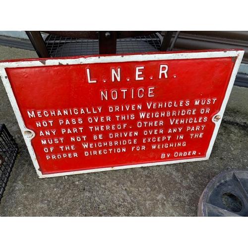 252 - ANTIQUE RED CAST IRON LNER SIGN