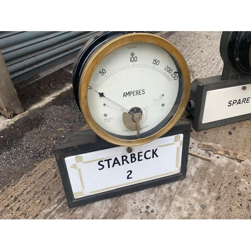 261 - VINTAGE REVRONE CAST IRON POWER STATION STARBECK 2 METER WITH ENAMEL BOX AND BRASS GAUGE METER
