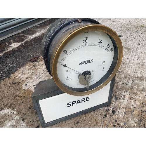 262 - VINTAGE REVRONE CAST IRON POWER STATION SPARE METER WITH ENAMEL BOX AND BRASS GAUGE METER