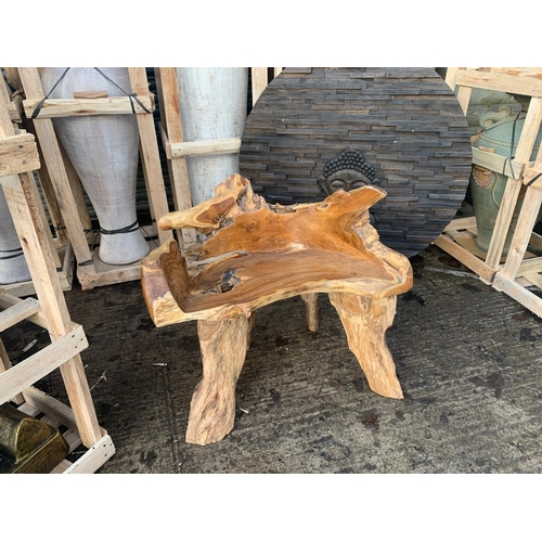 51 - ORNATE HEAVY DRIFTWOOD CHAIR HIGHLY POLISHED (IMAGE FOR ILLUSTRATION PURPOSES ONLY - EACH CHAIR MAY ...