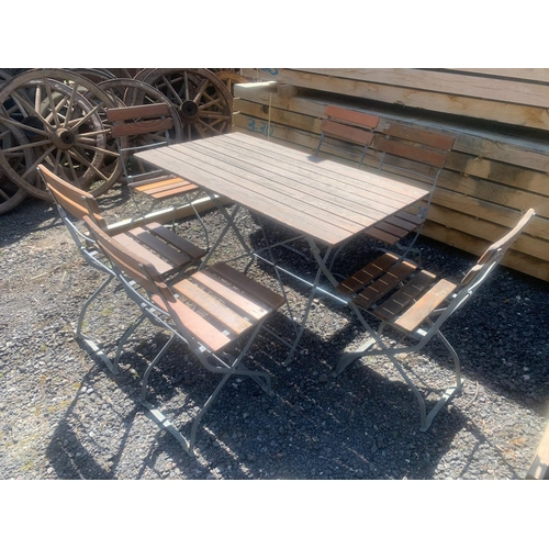 57 - QUALITY GERMAN BRAUHAUS HEAVY DUTY IRON KD PUB TABLE AND 6 X CHAIRS