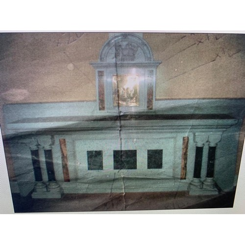 251 - HUGE 7 FOOT WIDE MARBLE TABERNACLE AND BRASS SAFE: ON PALLETS AND DISMANTLED - SOME DAMAGE - FEATURE...