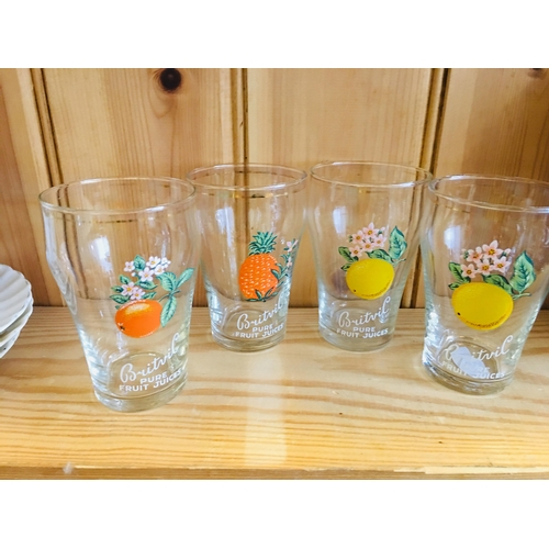 29 - 4 Vintage Britvic Fruit Glasses...
