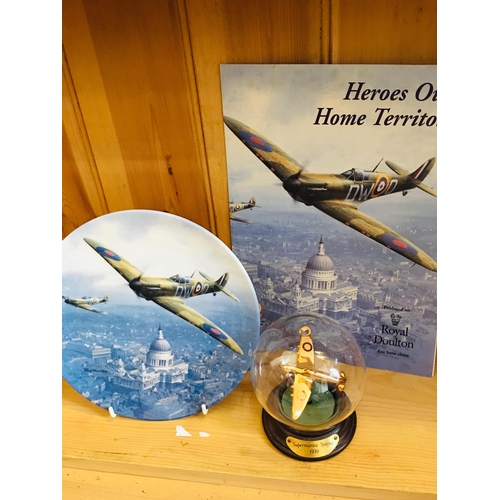 32 - Royal Doulton Heroes over home territory plate and supermarine spitfire 1939 plane in a globe...
