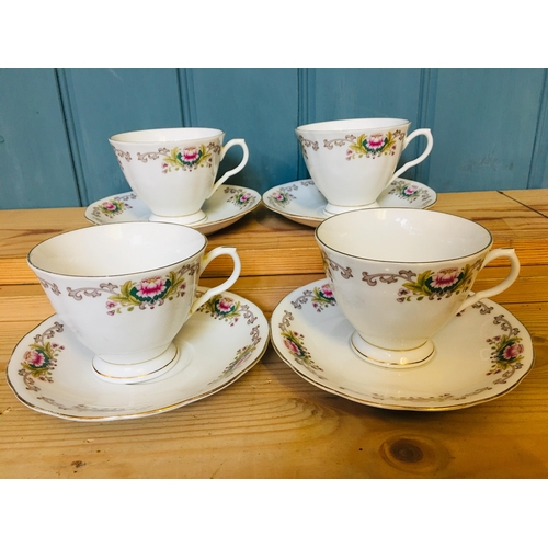 31 - Floral with gold coloured edging 4cups & saucers...