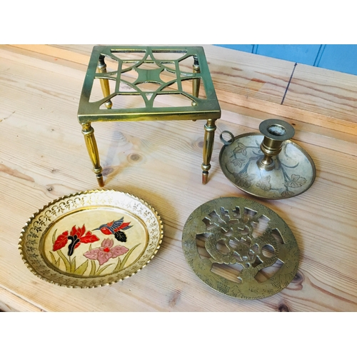 33 - Selection Of Brass Items, Trivet, Candle Holder, Small Trivet & Decorative dish....