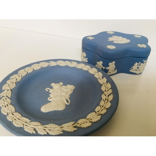 40 - Wedgwood Blue & White Trinket Dish with lid 10x7cms & small Dish 11.3cms...