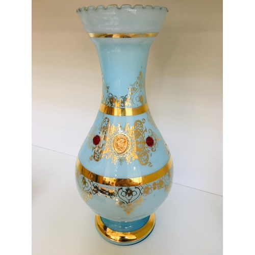 46 - Pale Blue & Gold Ornate Decorative Vase , 29x13cms...