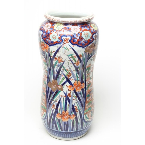 1 - AN IMARI PORCELAIN STICK STAND of slightly waisted cylindrical form painted in typical palette with ...