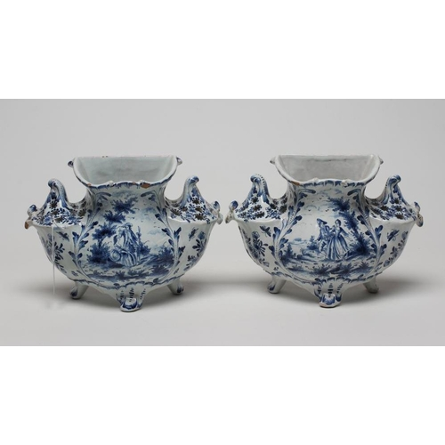 10 - A PAIR OF DUTCH DELFT BOUGH POTS, mid 19th century, of lobed form, the central aperture flanked by t...