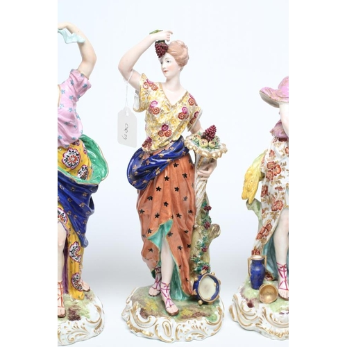 12 - A SET OF FOUR SAMSON OF PARIS PORCELAIN ALLEGORICAL FEMALE FIGURES, c.1900, depicting the Seasons, a...