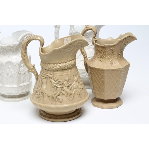 15 - A COLLECTION OF SIX EARLY VICTORIAN SMEAR GLAZED STONEWARE JUGS, comprising a Charles Meigh