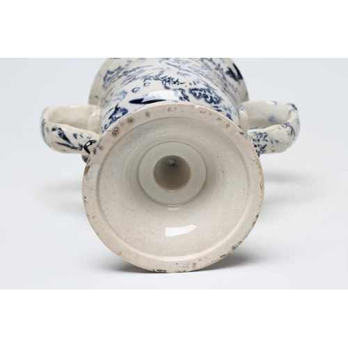 16 - A PEARLWARE LOVING CUP, c.1830, the bell shaped bowl inscribed in black