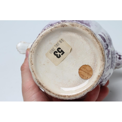 18 - OF ROYAL INTEREST - a pottery jug of lobed baluster form printed in underglaze lilac with a half len...