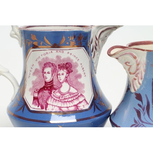 19 - OF ROYAL INTEREST - two graduated pearlware jugs of baluster form each on-glaze printed in puce with...
