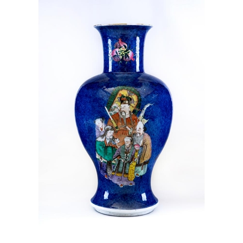 2 - A CHINESE PORCELAIN VASE of inverted baluster form painted in polychrome enamels with a female trave...