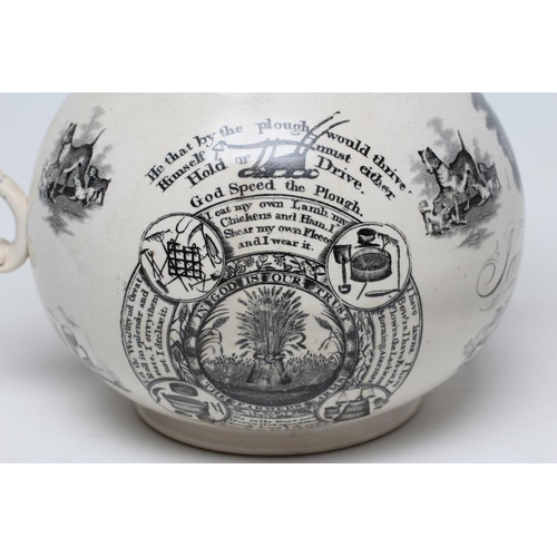 22 - OF ROYAL INTEREST - a large documentary pearlware jug of baluster form, 1840, on-glaze printed in bl...