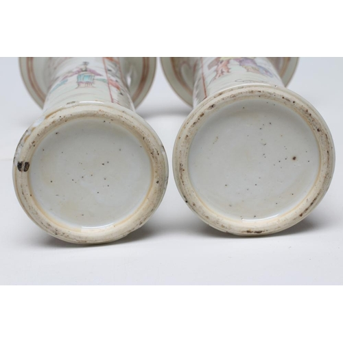 3 - A PAIR OF CHINESE PORCELAIN VASES of waisted cylindrical form painted in coloured enamels with panel...