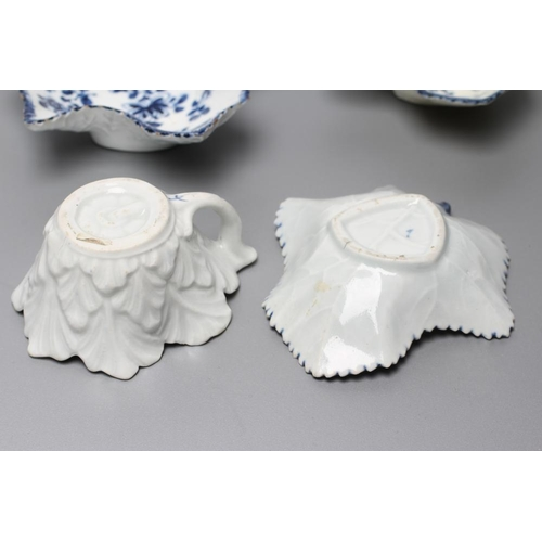 35 - TWO FIRST PERIOD WORCESTER PORCELAIN LEAF SHAPED PICKLE DISHES, c.1765, both painted in underglaze b...
