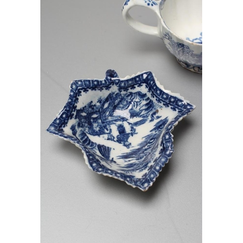 37 - A BOW PORCELAIN BUTTERBOAT, c.1765, of ribbed oval form painted in underglaze blue with the