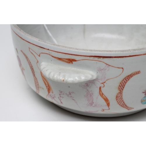 4 - A CHINESE PORCELAIN TUREEN of plain circular form with two lug handles, painted in famille rose enam...