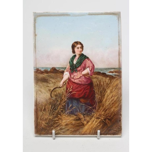 44 - AN ENGLISH PORCELAIN PLAQUE, possibly Derby, painted in polychrome enamels by James Rouse with a you...