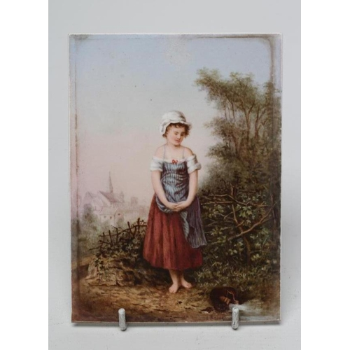45 - AN ENGLISH PORCELAIN PLAQUE, possibly Derby, painted in sombre colours by James Rouse, with a young ...