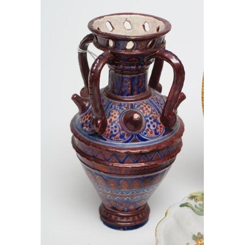 9 - A COLLECTION OF CANTAGALLI MAIOLICA, comprising an Hispano Moresque style four handled vase, 7 3/4