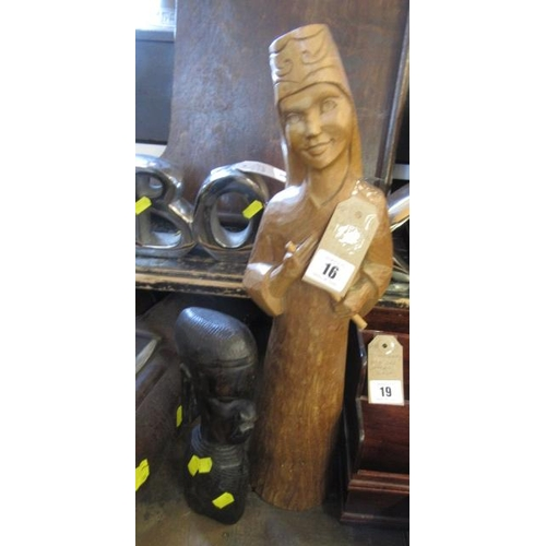 16 - TWO CARVED WOODEN FIGURES...
