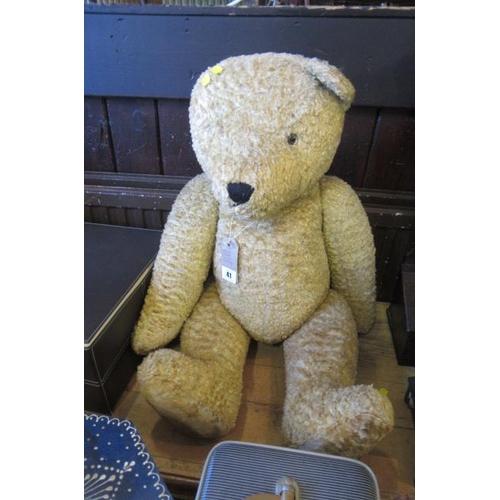 41 - LARGE STRAW FILLED TEDDY BEAR...