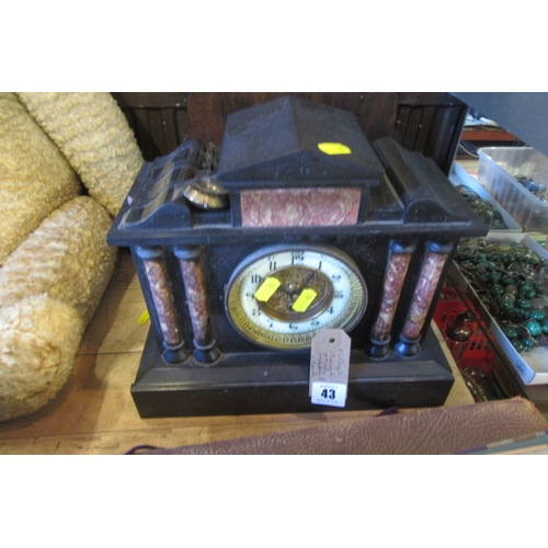 43 - SLATE MANTEL CLOCK