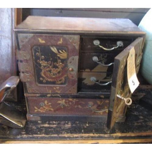 5 - HAND PAINTED ORIENTAL JEWELLERY BOX...