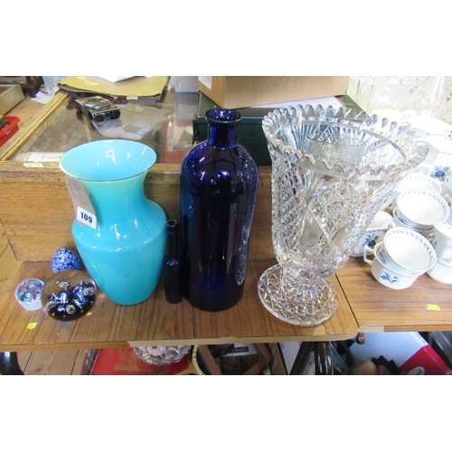109 - QUANTITY OF GLASS INCLUDING THREE PAPERWEIGHTS AND VASES ETC...